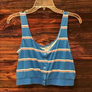 Me to We Cropped Tank Top Snap Front Striped LG